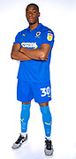 AFC Wimbledon defender Paul Kalambayi (30) during the official team photocall for AFC Wimbledon at the Cherry Red Records Stadium, Kingston, England on 8 August 2019.