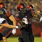10 September 2016: The San Diego State Aztecs football team hosts Cal in their second game of the season. San Diego State kick returner Rashaad Penny (20) breaks free for a 100 yard kick off return in the first quarter. The Aztecs lead 31-21 at halftime.