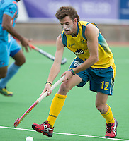 MELBOURNE -  Jacob Whetton van Australie tijdens de halve finale tussen de mannen van Australie en India bij de Champions Trophy hockey in Melbourne. ANP KOEN SUYK