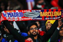November 24, 2018 - Madrid, MADRID, SPAIN - Fans of Atletico de Madrid during the Spanish Championship La Liga football match between Atletico de Madrid and FC Barcelona on November 24th, 2018 at Wanda Motropolitano stadium in Madrid, Spain. (Credit Image: © AFP7 via ZUMA Wire)