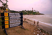 cautionary signs at beach, south india