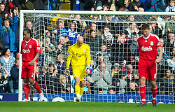 BIRMINGHAM, ENGLAND - Sunday, April 4, 2010: Liverpool's goalkeeper Pepe Reina looks dejected as they kick off after Birmingham City score the equalising goal during the Premiership match at St Andrews. (Photo by David Rawcliffe/Propaganda)