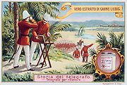 Heliograph, a visual telegraph for sending and receiving messages by means of mirrors and sunlight. Here a British signal unit in tropical kit are sending a message to the fort in the distance. Liebig trade card c.1900. Chromolithograph