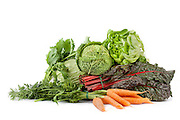 Mix of fresh vegetables: lettuce, cabbage, broccoli rabe, red chard and carrots, isolated on white background.