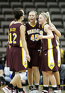25 JANUARY 2007: Minnesota huddles up during Iowa's 80-78 overtime loss to Minnesota at Carver-Hawkeye Arena in Iowa City, Iowa on January 25, 2007.