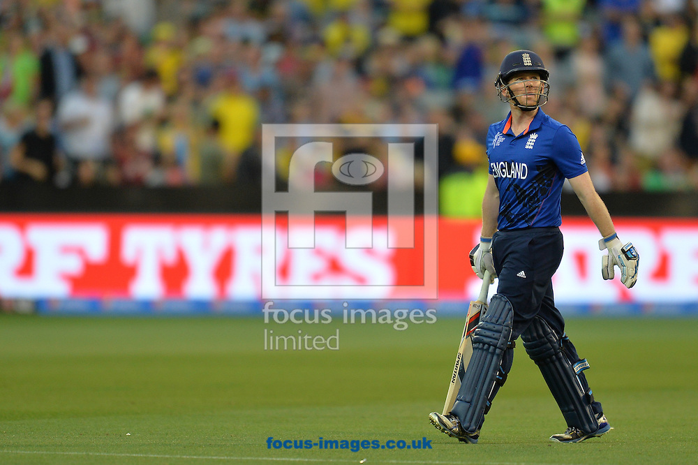 Eoin Morgan of England leaves after been dismissed during the 2015 ICC Cricket World Cup match at Melbourne Cricket Ground, Melbourne<br /> Picture by Frank Khamees/Focus Images Ltd +61 431 119 134<br /> 14/02/2015