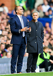 Everton Manager, Roberto Martinez and Chelsea Manager, Jose Mourinho  - Mandatory byline: Matt McNulty/JMP - 07966386802 - 12/09/2015 - FOOTBALL - Goodison Park -Everton,England - Everton v Chelsea - Barclays Premier League