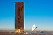DEU, Germany, North Rhine-Westphalia, Ruhr area, Essen, steel slab by Richard Serra on the Schurenbach heap. <br /> <br /> DEU, Deutschland, Nordrhein-Westfalen, Ruhrgebiet, Essen, Stahlbramme von Richard Serra auf der Schurenbachhalde.