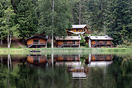 Cusheon Lake Resort on Cusheon Lake.  Photographed from the public viewpoint along Cusheon Lake Road on Salt Spring Island, British Columbia, Canada