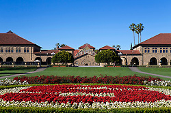 "Stanford University ""S"" logo in flowers, main quad, Stanford, California, United States of America"