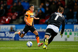 Alex Smithies of Huddersfield Town comes out to smother the ball and deny Adam Chicksen of Brighton a goal scoring opportunity - Photo mandatory by-line: Rogan Thomson/JMP - 07966 386802 - 21/10/2014 - SPORT - FOOTBALL - Huddersfield, England - The John Smith's Stadium - Huddersfield Town v Brighton & Hove Albion - Sky Bet Championship.