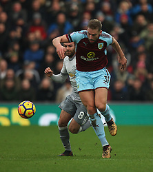 Juan Mata of Manchester United (L) and Charlie Taylor of Burnley in action - Mandatory by-line: Jack Phillips/JMP - 20/01/2018 - FOOTBALL - Turf Moor - Burnley, England - Burnley v Manchester United - English Premier League