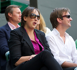 LONDON, ENGLAND - Friday, July 1, 2011: Acrtess Miranda Hart watches the Gentlemen's Singles Semi-Final match on day eleven of the Wimbledon Lawn Tennis Championships at the All England Lawn Tennis and Croquet Club. (Pic by David Rawcliffe/Propaganda)