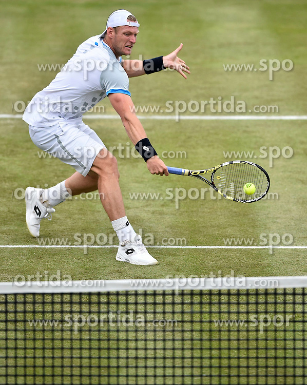 10.06.2015, Tennis Club Weissenhof, Stuttgart, GER, ATP Tour, Mercedes Cup Stuttgart, im Bild Sam Groth (AUS) Aktion Netzangriff // during the Mercedes Cup of ATP world Tour at the Tennis Club Weissenhof in Stuttgart, Germany on 2015/06/10. EXPA Pictures &copy; 2015, PhotoCredit: EXPA/ Eibner-Pressefoto/ Weber<br /> <br /> *****ATTENTION - OUT of GER*****
