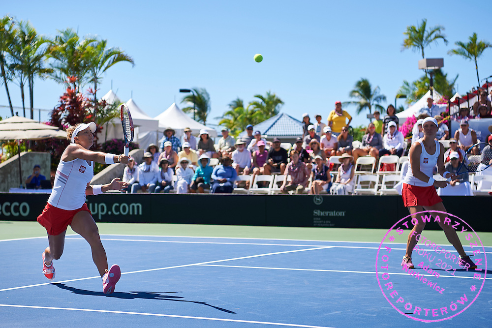 KAILUA KONA, USA - 2016 FEBRUARY 07: (R) Klaudia Jans - Ignacik and (L) Paula Kania both from Poland compete at women's double during the Fed Cup World Group II 1st round tennis match between USA and Poland on February 07, 2016 at Holua Tennis Center in Kailua Kona, USA.<br /> <br /> Picture also available in RAW (NEF) or TIFF format on special request.<br /> <br /> Any editorial, commercial or promotional use requires written permission from the author of image.<br /> <br /> Adam Nurkiewicz declares that he has no rights to the image of people at the photographs of his authorship.<br /> <br /> Mandatory credit:<br /> Photo by &copy; Adam Nurkiewicz / Mediasport