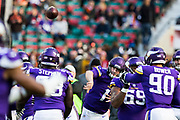 Minnesota Vikings Quarterback Kyle Sloter (1) during the International Series match between Cleveland Browns and Minnesota Vikings at Twickenham, Richmond, United Kingdom on 29 October 2017. Photo by Jason Brown.