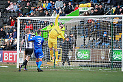 Stevenage goalkeeper Tom King (13) touches this one over the bar during the EFL Sky Bet League 2 match between Notts County and Stevenage at Meadow Lane, Nottingham, England on 24 February 2018. Picture by Nigel Cole.
