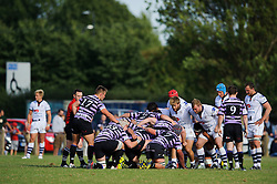 A scrum is formed - Photo mandatory by-line: Rogan Thomson/JMP - Tel: Mobile: 07966 386802 01/09/2013 - SPORT - RUGBY UNION - Station Road, Cribbs Causeway, Bristol - Clifton RFC v Bristol Rugby - Pre Season Friendly.