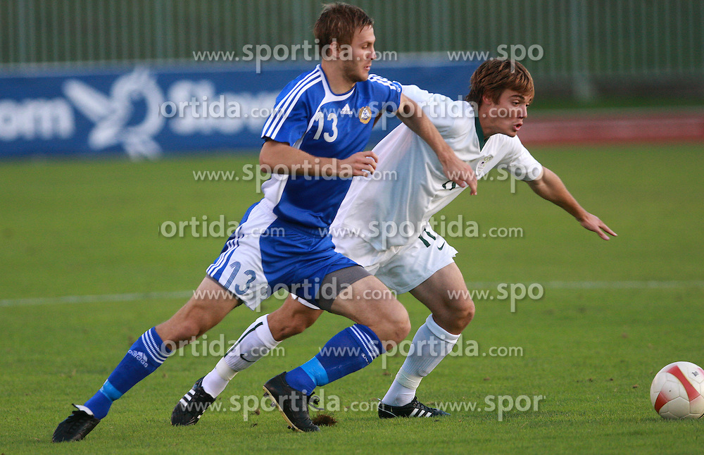 Pury Karkkainen of Finland and Damjan Trifkovic of Slovenia during the Qualifications for UEFA U-21 EC 2009 soccer match between Slovenia and Finland at Velenje stadion At lake, on September 9,2008, in Velenje, Slovenia.  (Photo by Vid Ponikvar / Sportal Images)
