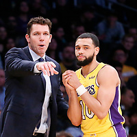 09 January 2018: Los Angeles Lakers head coach Luke Walton talks to Los Angeles Lakers guard Tyler Ennis (10) during the LA Lakers 99-86 victory over the Sacramento Kings, at the Staples Center, Los Angeles, California, USA.