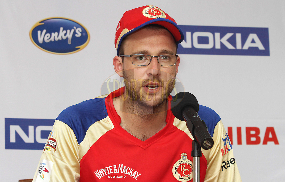 Daniel Vettori of Royal Challengers Bangalore during the post match press conference during match 1 of the NOKIA Champions League T20 ( CLT20 )between the Royal Challengers Bangalore and the Warriors held at the  M.Chinnaswamy Stadium in Bangalore , Karnataka, India on the 23rd September 2011..Photo by Shaun Roy/BCCI/SPORTZPICS