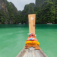 View from a long-tail boat on Pileh Lagoon at Koh Phi Phi Leh Island.