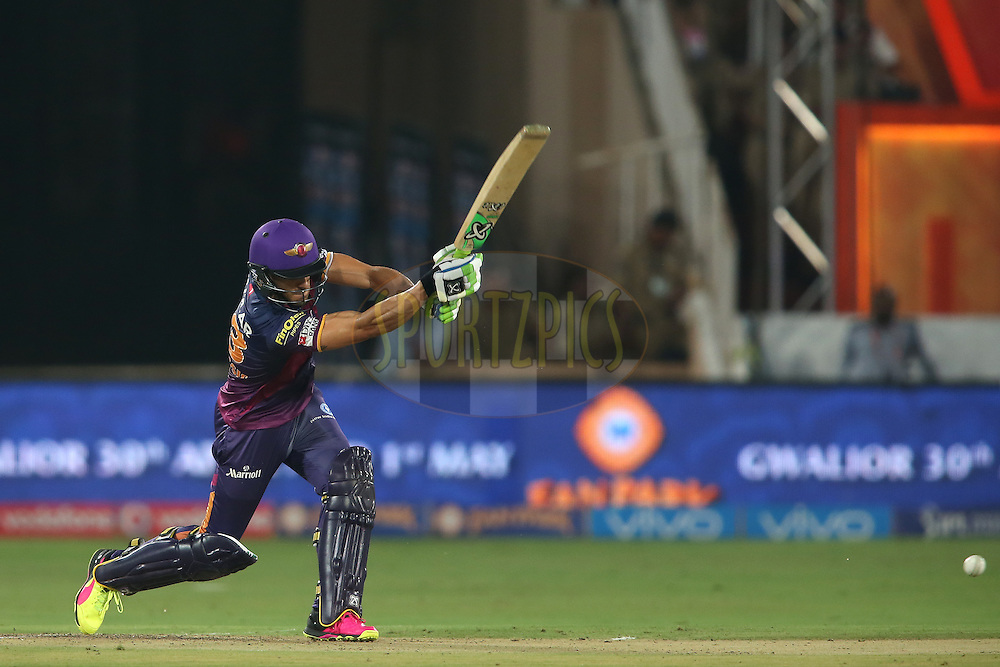 Faf du Plessis of Rising Pune Supergiants drives a delivery during match 22 of the Vivo IPL 2016 (Indian Premier League) between the Sunrisers Hyderabad and the Rising Pune Supergiants held at the Rajiv Gandhi Intl. Cricket Stadium, Hyderabad on the 26th April 2016<br /> <br /> Photo by Shaun Roy / IPL/ SPORTZPICS