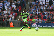 Forest Green Rovers Drissa Traoré(4) passes the ball during the Vanarama National League Play Off Final match between Tranmere Rovers and Forest Green Rovers at Wembley Stadium, London, England on 14 May 2017. Photo by Shane Healey.