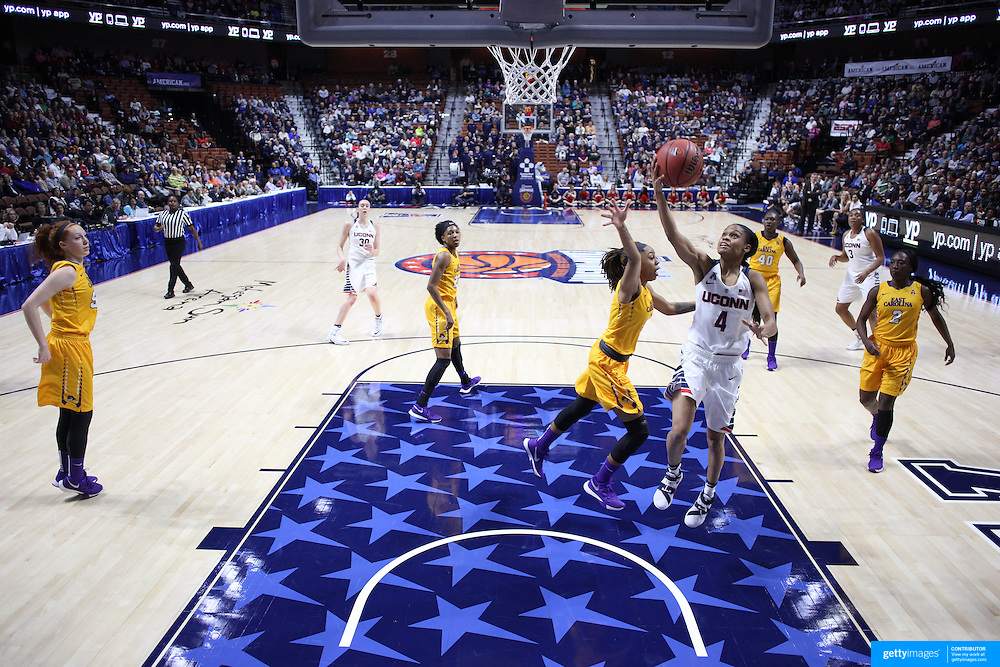 Moriah Jefferson, UConn, drives to the basket for two points during the UConn Huskies Vs East Carolina Pirates Quarter Final match at the  2016 American Athletic Conference Championships. Mohegan Sun Arena, Uncasville, Connecticut, USA. 5th March 2016. Photo Tim Clayton