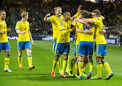 15.10.2013, Friends Arena, Stockholm, SWE, FIFA WM Qualifikation, Schweden vs Deutschland, Gruppe C, im Bild Sverige 14 Tobias Hys©n Hysen gratuleras av lagmedlemmar congratulations celebrate with team mates, , , Nyckelord , Keywords : football , fotboll , soccer , FIFA , World Cup , Qualification , Sweden , Sverige , Schweden , Germany , Tyskland , Deutschland jubel jublande glad gl©dje lycka happy happiness celebration celebrates // during the FIFA World Cup Qualifier Group C Match between Sweden and Germany at the Friends Arena, Stockholm, Sweden on 2013/10/15. EXPA Pictures © 2013, PhotoCredit: EXPA/ PicAgency Skycam/ Ted Malm<br /> <br /> ***** ATTENTION - OUT OF SWE *****