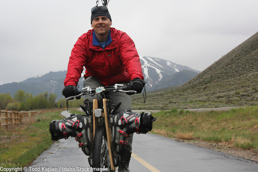 Idaho, Sun, Valley, Bald Mountain, Spring, Ski, ski Bike, Biking, skis, boots, Cook Crist, (MR),