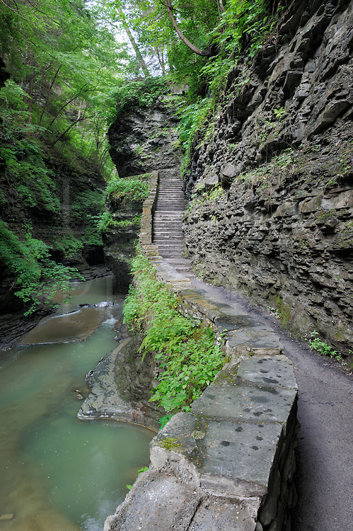 Foopath and staircase through narrow rocky gorge in Watkins Glen State Park, new York, USA.