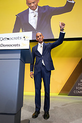 © Licensed to London News Pictures . CORRECT DATE: 16/09/2019. Bournemouth, UK. CHUKA UMUNNA waves to the audience after delivering his conference speech . The Liberal Democrat Party Conference at the Bournemouth International Centre . Photo credit: Joel Goodman/LNP