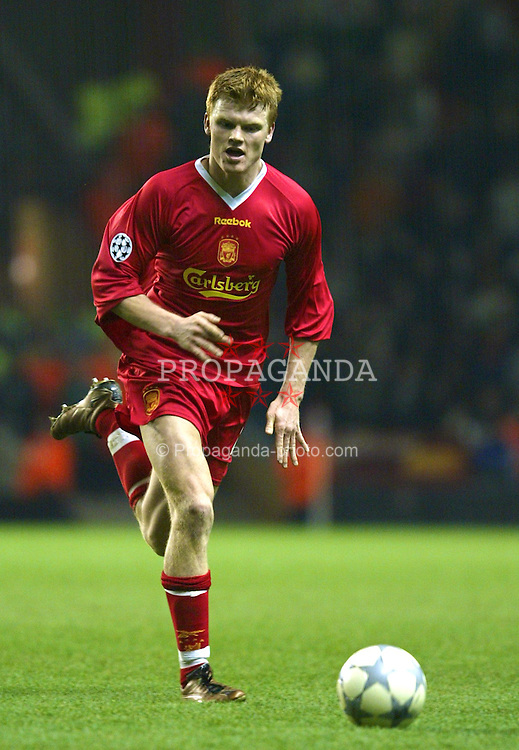 LIVERPOOL, ENGLAND - Tuesday, March 19, 2002: Liverpool's John Arne Riise in action against AS Roma during the UEFA Champions League Group B match at Anfield. (Pic by David Rawcliffe/Propaganda)
