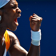 Serena Williams of the US reacts during her semifinal match against Li Na of China at the Australian Open Tennis Tournament in Melbourne, Australia, 28 January 2010. Williams won in straight sets.