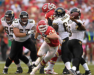 October 6, 2007 - Kansas City, MO..Defensive end Jared Allen #69 of the Kansas City Chiefs rushes in on quarterback David Garrard #9 of the Jacksonville Jaguars in the first half, during a NFL football game at Arrowhead Stadium in Kansas City, Missouri on October 6, 2007...FBN:  The Jaguars defeated the Chiefs 17-7.  .Photo by Peter G. Aiken/Cal Sport Media