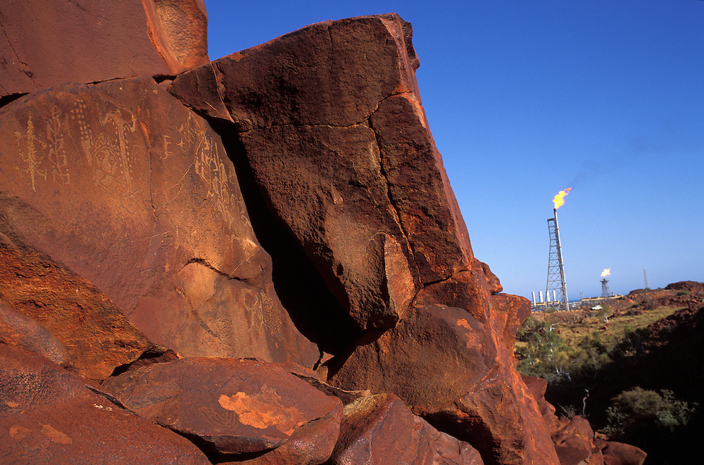 Climbing Man Aboriginal carvings - Burrup Peninsula - Pilbara Western Australia