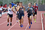 May 19, 2018; Torrance, CA, USA; Ryan Bush of Tesoro (center) defeats Mason Ratkovich of Loyola (left) and Jackson Taylor of Roosevelt to win the Division I 800m in 1:54.37 during the CIF Southern Section Finals  at El Camino College. Ratkovich was second in 1:54.51 and Jackson was third in 1:54.65.