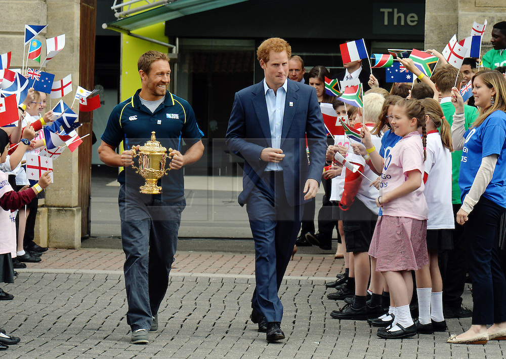 &copy; Licensed to London News Pictures. 10/06/2015. <br /> LONDON, UK. HRH PRINCE HARRY (R), JONNY WILKINSON (L), Will Greenwood and local school children launch the 100 days to go until the Rugby World Cup 2015 at Twickenham Stadium with the Web Ellis Cup, London, Wednesday 10 June 2015. Photo credit : Hannah McKay/LNP