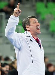 Radu Voina, head coach of Valcea during handball match between RK Krim Mercator and CS Oltchim RM Valcea (ROU) of Women's EHF Champions League 2011/2012, on February 4, 2012 in Arena Stozice, Ljubljana, Slovenia. Valcea defeated Krim 31-25. (Photo By Vid Ponikvar / Sportida.com)