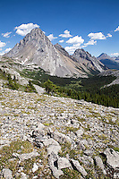 A 4.9 mile hike one-way will take you up into the alpine region of the Canadian Rockies to this grand view of 10,160ft Mount Birdwood at Burstall Pass in Peter Lougheed Provincial Park, Alberta