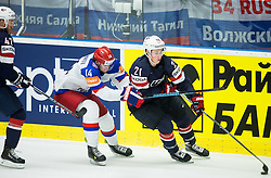 Dan Sexton of USA, Viktor Tikhonov of Russia and Dylan Larkin of USA during Ice Hockey match between Russia and USA at Day 4 in Group B of 2015 IIHF World Championship, on May 4, 2015 in CEZ Arena, Ostrava, Czech Republic. Photo by Vid Ponikvar / Sportida
