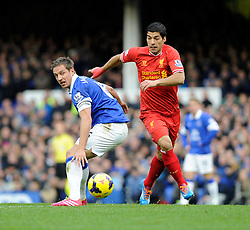 Liverpool's Luis Suarez passes Everton's Phil Jagielka - Photo mandatory by-line: Dougie Allward/JMP - Tel: Mobile: 07966 386802 23/11/2013 - SPORT - Football - Liverpool - Merseyside derby - Goodison Park - Everton v Liverpool - Barclays Premier League