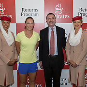 August 19, 2014, New Haven, CT:<br /> Participants pose for a photograph during the Emirates Airline tennis clinic on day five of the 2014 Connecticut Open at the Yale University Tennis Center in New Haven, Connecticut Tuesday, August 19, 2014.<br /> (Photo by Billie Weiss/Connecticut Open)