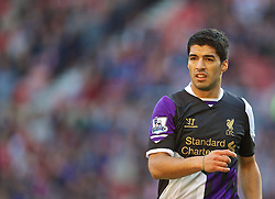 SUNDERLAND, ENGLAND - Sunday, September 29, 2013: Liverpool's Luis Suarez in action against Sunderland during the Premiership match at the Stadium of Light. (Pic by David Rawcliffe/Propaganda)