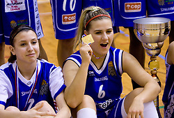 Rebeka Abramovic and Ines Kerin celebrate at finals match of Slovenian 1st Women league between KK Hit Kranjska Gora and ZKK Merkur Celje, on May 14, 2009, in Arena Vitranc, Kranjska Gora, Slovenia. Merkur Celje won the third time and became Slovenian National Champion. (Photo by Vid Ponikvar / Sportida)
