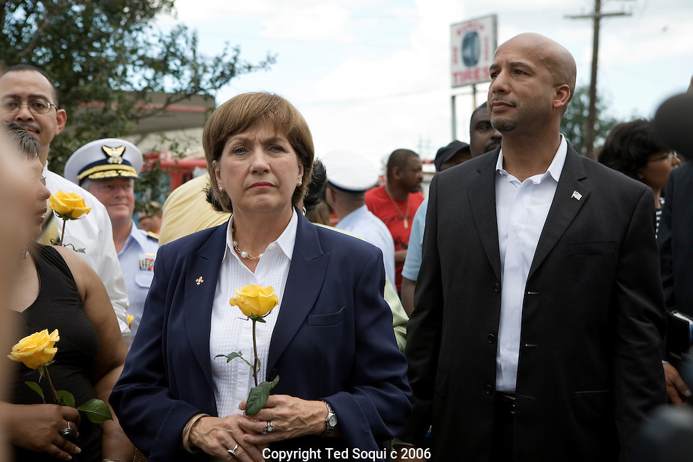 Louisiana Governor Kathleen Blanco and New Orleans Mayor Ray Nagin..Dedication ceremonies for the 9th Ward Katrina  Disaster Memorial. Residents of the Lower 9th Ward showed up to listen to politicians and various speakers talk about the Katrina disaster.