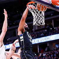 01 April 2018: Milwaukee Bucks forward Jabari Parker (12) dunks the ball during the Denver Nuggets 128-125 victory over the Milwaukee Bucks, at the Pepsi Center, Denver, Colorado, USA.