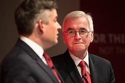 © Licensed to London News Pictures. 13/11/2019. London, UK. Shadow Secretary of State for Health and Social Care John Ashworth MP (left) and Shadow Chancellor of the Exchequer John McDonnell MP (right) answer media questions after making a speech at The Royal Society of Medicine to announce labour's plan for health and the NHS. Photo credit : Tom Nicholson/LNP