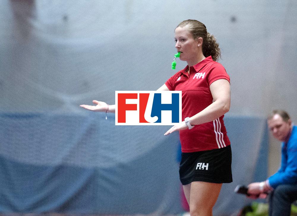 BERLIN - Indoor Hockey World Cup<br /> Kazakhstan - Russia<br /> foto: Umpire Maggie Giddens<br /> WORLDSPORTPICS COPYRIGHT FRANK UIJLENBROEK